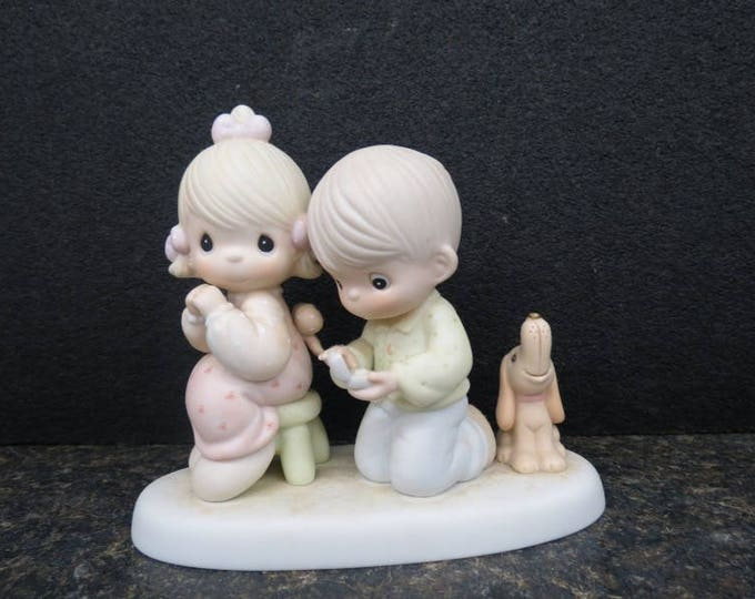 "Precious Moments Engagement Figurine ""With this ring......."" by Enesco , made in 1988. w REDUCED SHIPPING"