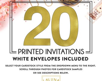 Set of 20 printed invitations / cards