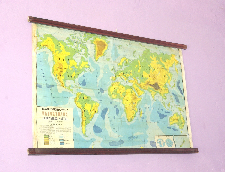 atlas weltkarte geographie schule map leinwand diagramm. Black Bedroom Furniture Sets. Home Design Ideas