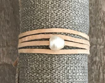 Suede and freshwater pearl wrap bracelet