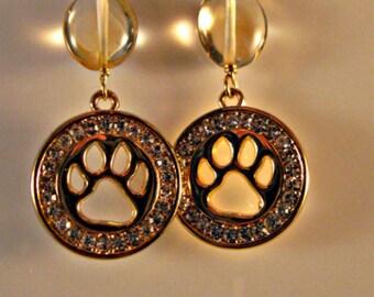 Pet Lover Earrings,gemstone earrings,dangle earrings,drop earrings,citrine earrings,birthstone earrings,pet earrings,dog lover earrings,pet