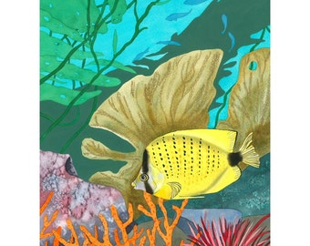 Limited Edition Signed Print, Marine Tropical Yellow Fish in Turquoise Sea Watercolour Painting