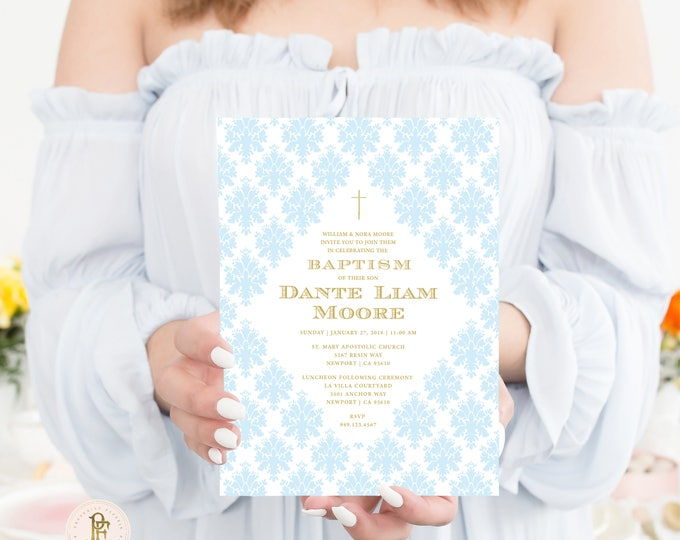 Baptism invitation - Christening invitation - Dedication invitation - Baptism - Christening - Dedication invite - Boys Baptism Invite - 108