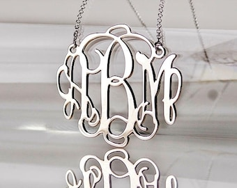 2 Inch Large Monogram Necklace in Sterling Silver 0.925