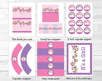 Cute Pink Owl Baby Shower Party Package / Owl Baby Shower Package / Owl Decorations / Pink & Purple / Baby Girl / INSTANT DOWNLOAD A343