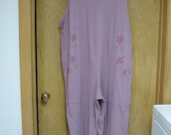 """vintage mauve """"Farmer Jane"""" overall/jumpsuit by 'Blue Fish' . . 100 % organic cotton . . size 2 (large) . .  made in the USA . .  never worn"""