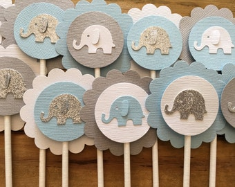 12 Elephant Cupcake Toppers, Elephant Cake Topper, Elephant Baby Shower, Elephant decoration, elephant party decoration, It's a boy