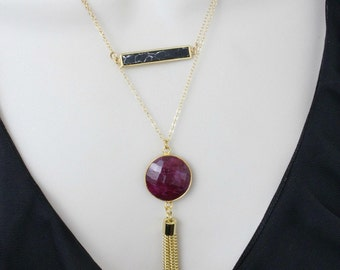 Ruby Necklace, Layered Necklace, Long Necklace, Gemstone Necklace, Statement Necklace, Jewelry Gifts, July Birthstone,Pendant Necklace,Stone