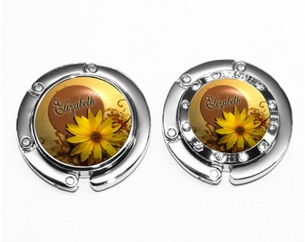 Yellow Sunflower Purse Hook - Personalized Bronze Name Disk Flower Bag Hook (A086)