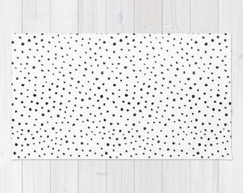 Dalmatian print area rug 2x3 rug black and white polkadot Living room 3x5 rug 4x6 area rug animal print throw rug bedroom rug dorm room rug