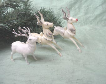 Three white glitter plastic standing reindeer buck animal figures  / vintage stag / Rudolf the red nose reindeer