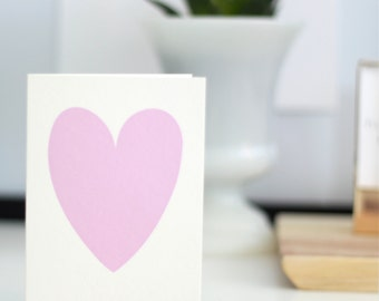 Card with a peony pink heart // anniversary card // heart cards // cards with a heart // peony heart card // heart card // peony pink