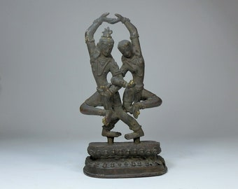 Antique Nepalese Bronze Dancing God and Goddess Deities. 9 inch. Two Piece. Figures plus fitted stand. Old Tibet Buddhism Hindu Bronze.