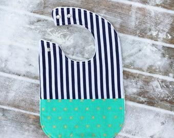 Navy Blue Stripe Bib ~ Adjustable Baby Bib ~ Large Bib