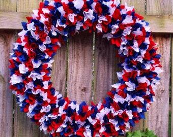 Medium Patriotic Rag Wreath, Fourth of July Rag Wreath, 4th of July Rag Wreath, Military Wreath, Flag Wreath