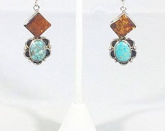 Southwestern Turquoise, Amber and Sterling Silver Earrings Navajo