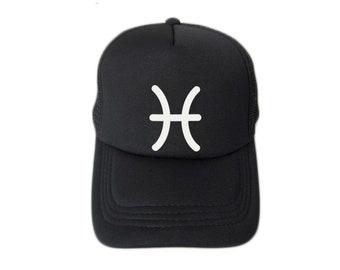 ZODIACA - Pisces Zodiac Sign Black Flock Print Trucker Hat, Mesh Caps- H2S103