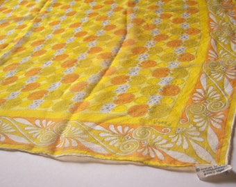 50s 60s Vera silk scarf / Lady Bug collection / yellow orange geometric print / silk chiffon scarf / made in Japan / / 30 inches  EXCELLENT