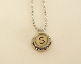 Typewriter Key Necklace, Letter S , Vintage, Initial Jewelry,  All Letters Available, Typography Jewelry,