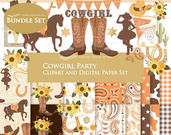 Cowgirl clipart, Cowgirl Digital Paper, Cowgirl Digital, Cowgirl Party, Cowgirl Boots, Cowboy Boots, Sunflower, Clip Art + Digital Paper Set