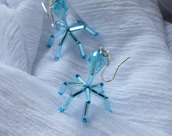 Biolojewelry -Bacteriophage Virus Biology Science Earrings - Light Blue