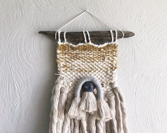 Cecily//Hand Woven Wallhanging with Tassels and Sequins//OOAK