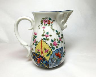 Vintage Mann Tobacco Leaf Genus Nicotinia Porcelain Pitcher Creamer Blue Yellow Leaves Pink Flower Vines White with Blue Trim Retro Kitchen