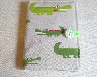 Children's Colouring Case, Crocodile Fabric, Art Activity Pouch, Travel Colouring Wallet, Pencil Holder, Colouring gift, Easter Gift,