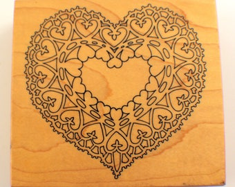 Psx Heart Of Hearts Xx Rare Lace Filigree K-1643 1995 Wooden Rubber Stamp