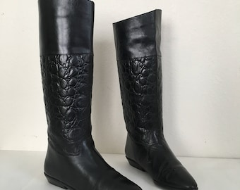 Vintage Size 7 Nine West Black Croc Print Leather Boots