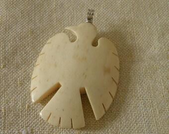 Carved Oxbone Eagle Pendant