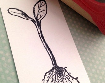 Seed Sprout with Roots  Wood Mounted Rubber Stamp 6331