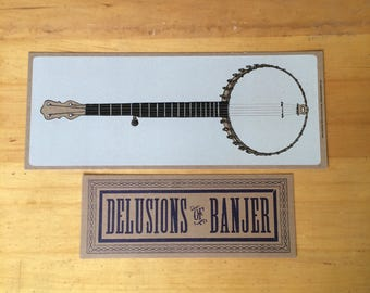 BANJO GIFT PACK Poster and Sign clawhammer linocut and Delusions of Banjer sign hand printed letterpress art decor old time music bluegrass