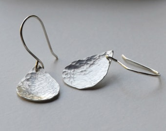 Hammered silver teardrop earrings - small silver dangle earrings - concave teardrops