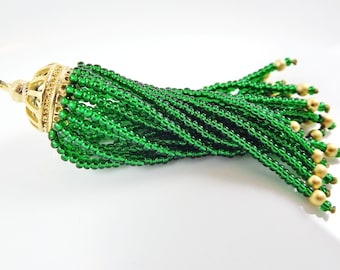 Long Emerald Green Beaded Tassel - 22k Matte Gold Plated Brass - 1PC