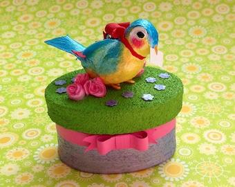 Bluebird Sculpture Keepsake ~ Jewelry ~ Trinket Box ~Happiness Delivered!  ~ Customizable & Handmade to Order ~ SOLD