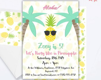 pineapple invitation pineapple party pineapple birthday