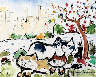 Original Cat Watercolor Central Park Cats
