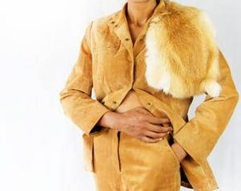 Vintage 1970's Western Style Cowboy REAL Suede Suit with REAL Fox Fur
