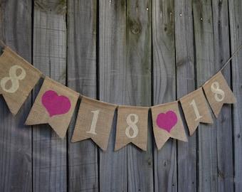 Save the Date banner Engagement Banner  Burlap Wedding Banner  Custom color  Photo - Prop