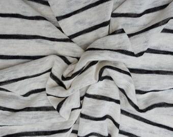 "Hemp Sweater Knit 1"" Stripe Fabric by the Yard Black / Off White 61""W 5/16"