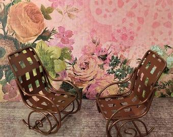 One Copper Rocking Chair Miniature Fairy Garden Accessories