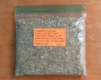 2 oz Chamomile*Lavender*Mullein leaf*Palo Santo*Peppermint*Raspberry leaf*Yarrow flowers*Yerba Santa*White Sage*Dakota Sage*Desert Sage mix