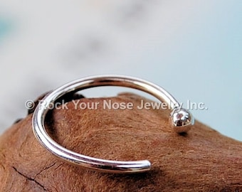 Budded Open Sterling Nose Hoop, Silver Nose Ring, Open Nose Ring, Thin Nose Ring, Dainty Nose Ring, Rock Your Nose - CUSTOMIZE
