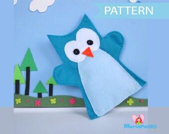 Owl Hand Puppet Pattern , Felt Hand Puppet Pattern A508 PDF Sewing pattern