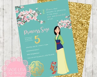 Custom Printable Disney Princess Mulan Pastel Whimsical Gold Asian Cherry Blossom Girl Party Birthday Celebration Invitation Invite Card