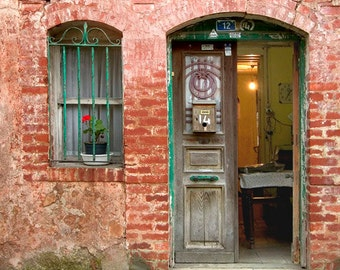 Red Brick House Doors photography, Old neighborhoods, Red wall art