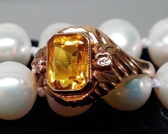 Vintage 10K Yellow Gold Citrine Glass Ring