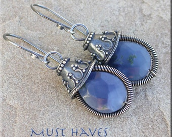 Blue teardrops and  Silver Dangle  Earrings,coiled stone dangle earrings, blue quartz dangle