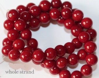 "Red Coral Beads - Round 7 mm Gemstone Beads - Full Strand 16"", 56 beads, A Quality"
